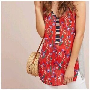 Anthropologie Tiny zuma floral tank top red XS
